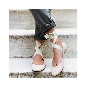 FREE PEOPLE nude lace up ballet flats